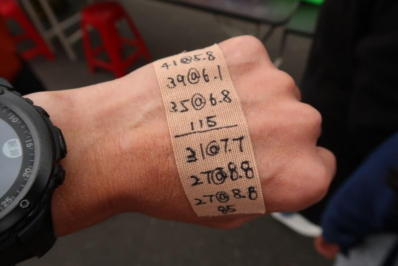 ◎貼在手上以200公里為目標的配速表,提醒自己要降速或加速