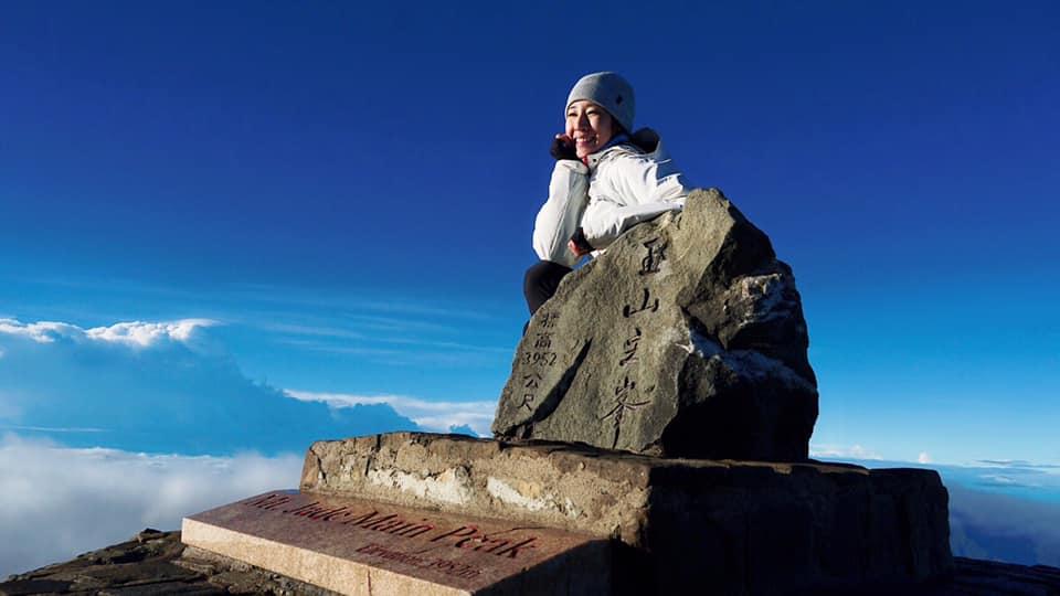 今年初挑戰登大山即成功登頂玉山(圖片來源:李詹瑩 Joy Lee FaceBook)